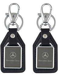 Parrk Mercedes Benz Mirror Leather Logo Locking Keychain Pack Of 2