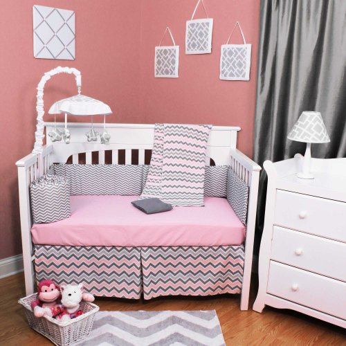 Chevron Zig Zag Pink and Gray 5 Piece Baby Crib Bedding Set with Bumper image