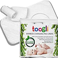 World's LARGEST Bamboo Diaper Changing Pad Liners (3 pk) - 35 x 18 In. Complete Waterproof Protection For Your Table and Cover. Makes a Great Travel Change Mat Too. by Toogli baby products