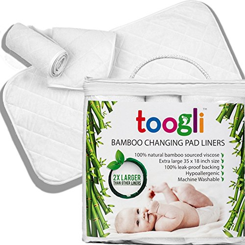 World's LARGEST Bamboo Diaper Changing Pad Liners (3 pk) - 35 x 18 In. Complete Waterproof Protection For Your Table and Cover. Makes a Great Travel Change Mat Too. (Changing Pads Liners compare prices)