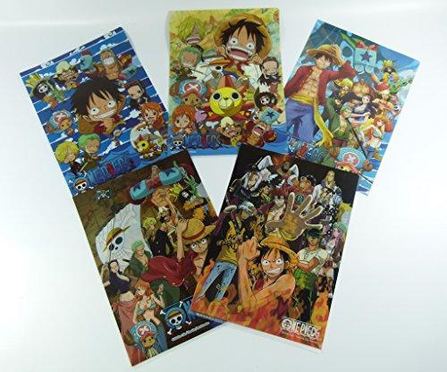 One Piece Manga 5 Progettazione A4 superiore e laterale di apertura in plastica Portafoglio Dimensioni: 22cm x 31 centimetri (5 pezzi) dal Giappone