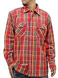 (コスビー) cosby 大きいサイズ メンズ シャツ 長袖 ミリタリー チェック レギュラー 秋 3color 5L レッド