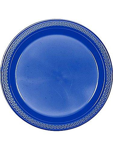 "Blue Plastic Plates, 9"""