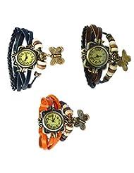Felizo Combo Offer Pack Of 3 Multi Strap Fancy Butterfly Bracelet Vintage Watch (Black, Brown & Orange)