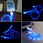 SQdeal® Sky blue Visible LED EL Light Micro USB Sync Data Charging Charger Cable for HTC One M8 X, Samsung Galaxy S6 edge S5 S4 S3 S, Note 4 3 2 III II, Epic 4G Touch, Skyrocket, Galaxy Attain, Galaxy Note, Galaxy Nexus, Galaxy S, Galaxy Pocket, Rugby Smart and More Android Smart Phones