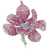 EVER FAITH Silver-Tone Orchid Flower Petal Brooch Pink Austrian Crystal