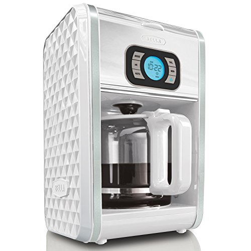BELLA 13726 Diamonds Collection 12-Cup Programmable Coffee Maker, White