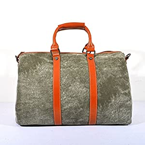 Oversized Leather Canvas Duffel Tote Weekender Travel Shoulder Handbag Gift Idea