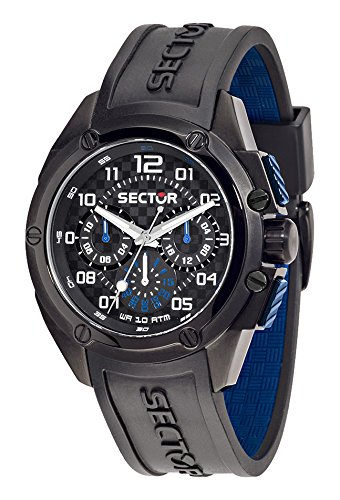 Sector No Limits 950 Men's Quartz Watch with Black Dial Analogue Display and Black Silicone Strap R3251581001