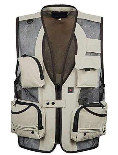 Alnovate Mens Mesh Breathable Openwork Journalist Photographer Fishing Vest