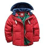 バイシン(BAISHUN)子ども ダウンコート 男女兼用 ダウンジャケット カジュアル 保温 防寒 ダウンジャケット 冬(レッド120)