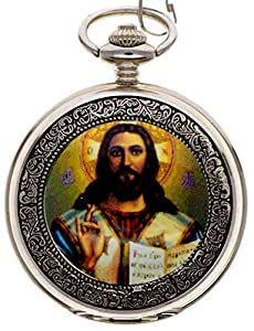 New Brand Mall Jesus Christ Pocket Watch Quartz With Chain Full Hunter Silver Case Arabic Numerals Pocket Watch