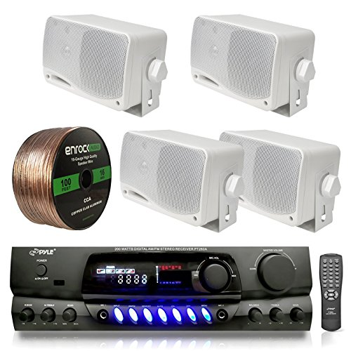 4) PYLE PLMR24 200W Outdoor Speakers + PT260A 200W Stereo Theater Receiver (Outdoor Sound System compare prices)