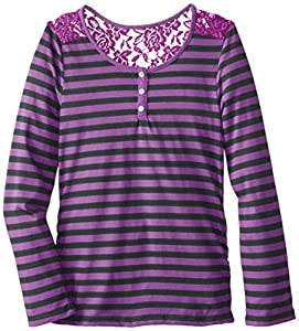 Derek Heart Girl Big Girls' Striped Long Sleeve Scoop Neck Top with Placket and Lace Yoke, Purple/Grey, Small