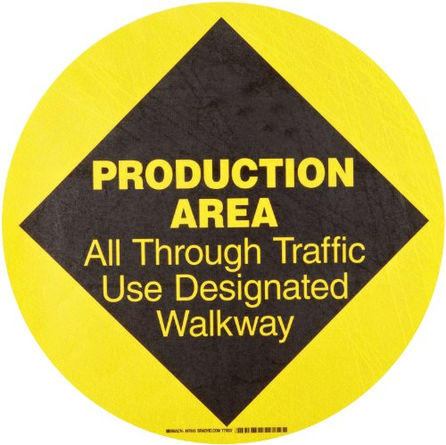 "Brady 97616 17"" Diameter B-819 Vinyl, Yellow on Black Floor Safety Sign, Header ""Protection Area"", Legend ""All Through Traffic Use Designated Walk Way"""