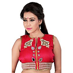 Araja Fashion Red Color Hand Work with Mirror Work Readymade Designer Saree Blouse