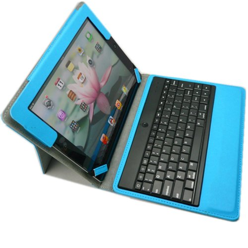 Xkttsueercrr Premium New Abs Plastic Keys Wireless Bluetooth Keyboard Folio Case Cover With Magnetic Smart Stand For Ipad 2 New Apple Ipad 3 3Rd Gen. Ipad 4 Gen. (Blue)