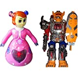 3D Light Music Dancing Princess Barbie With Walking Warrior Robot With LED Lights And Sound