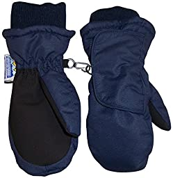 N\'Ice Caps Kids Easy On Thinsulate Waterproof Velcro Wrap Mitten (2-3 years, Navy/Black)
