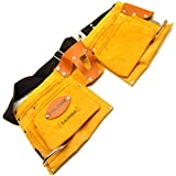 Suede leather 10 pocket double tool pouch holder with fully adjustable belt T571