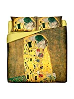 Tele d'autore by MANIFATTURE COTONIERE Juego De Funda Nórdica Klimt Il Bacio (Oro/Multicolor)