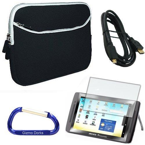 Gizmo Dorks Super Bundle con custodia (colore nero) con moschettone portachiavi per ARCHOS 70internet tablet