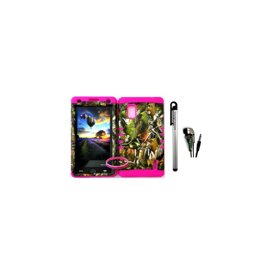AT&T LG Optimus G E970 Hybrid 2 in 1 Green leaf Mossy Camo Hunter Series Plastic Snap On + Pink Silicone Kickstand Cover Case (Stylus Pen,Camo Earpiece & Wireless Fones Wristband included)