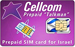 Cellcom Israel Prepaid SIM CARD ♦ ANY SIZE SIM ♦ New & Activated ready for use with free incoming calls and SMS ♦ Including SIM Card Case ♦ Iphone Pin ♦ English user guide (Regular Size SIM)