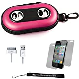 Pink Portable Hard Case Cover Shell with Integrated Speakers for Apple iPhone 4 ( 4th Generation 16GB 32GB - AT&T and Verizon ) + Includes Anti Glare Screen Protector Guard + Includes a USB Data Sync Cable for your iPod Touch