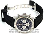 22mm Distinctive Perforated Pattern Silicon Rubber Divers Watch Strap on deployment buckle Fits Breitling Navitimer