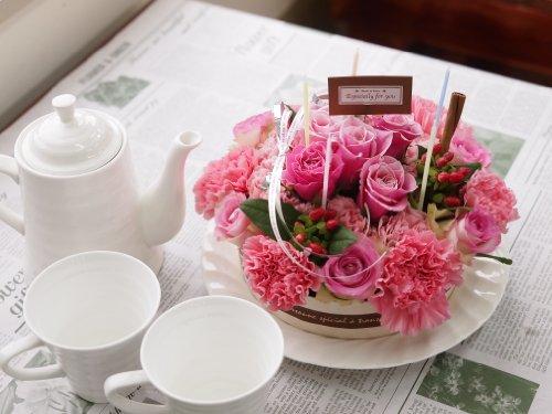 【フラワーギフト】お友達の誕生日、結婚祝い、出産祝いなどの贈り物に♪FLOWER CAKE(フラワーケーキアレンジメント)スイートベリー SIZE:L