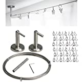 Curtain Wire Rod Set Stainless Steel, Multi-purpose, 16.5' Wire, 2 Mounting Pieces, 24 Clipss