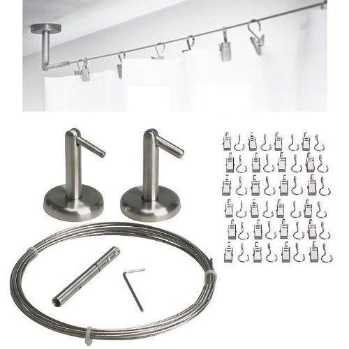 Curtain Wire Rod Set Stainless Steel, Multi-purpose, 16.5' Wire, 2 Mounting Pieces, 24 Clipss by Fasthomegoods (Ikea Curtain Wire compare prices)