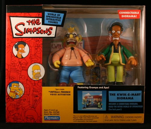 Picture of Playmates Simpsons Kwik-E-Mart Interactive Diorama w/ Apu and Grampa Simpson Figure (B000YW7GOC) (Playmates Action Figures)