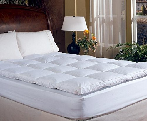 King Size Overstuffed Feather Bed Pillow Top Mattress Topper Cushion Pad Down Like Waterfowl Feathers Super Soft Under Comforter Baffle Box Featherbed Construction 100% Cotton Cover Good Night