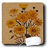 3dRose Vintage Yellow Flowers Mouse Pad (mp_179054_1)