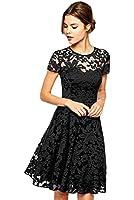 Amoluv Women Round Neck Short Sleeve Pleated Lace Slim Dress