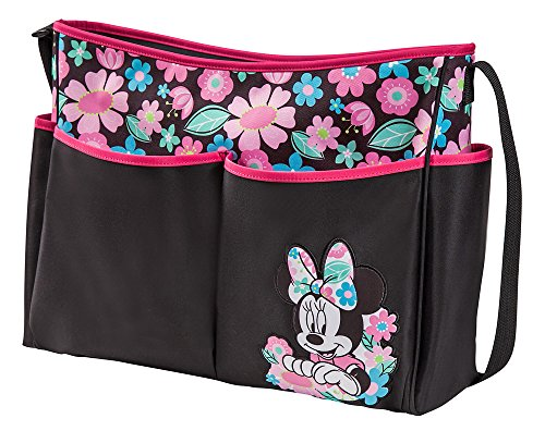 Disney Minnie Mouse Floral Print Large Hobo Diaper Bag, Black/Pink - 1