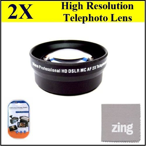 58Mm 2X Telephoto Lens For Canon Xa10 Xf100 Xf105 Camcorder + Microfiber Cleaning Cloth + Lcd Screen Protectors