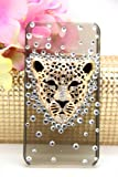 3d Swarovski Crystal Bling Case for Iphone 4 / 4s Leopard Head