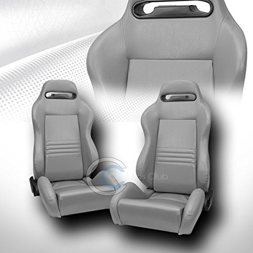 2X UNIVERSAL TR GRAY STITCH PVC LEATHER RECLINABLE RACING BUCKET SEAT+SLIDER C01 (Camaro Ss Racing Seats compare prices)