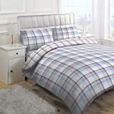 Linens Limited Texas Check Duvet Cover Set, Blue, Super King
