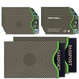 Tenn Well RFIDスリーブ, スキミング防止カードケース 10枚カードスリーブ 2枚パスポートスリーブ入れ