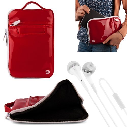 "(Red) Vangoddy Hydei Patent Leather Bag Case For Monster M7 7"" Tablet + White Vangoddy Headphones"
