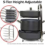 BTH Height Adjustable Pot Pan Organizer Rack 5-Tier: 10, 11 & 12 Inch Heavy Duty Kitchenware Cookware Rack Holder Kitchen Cabinet Countertop Stainless Steel Storage Solution