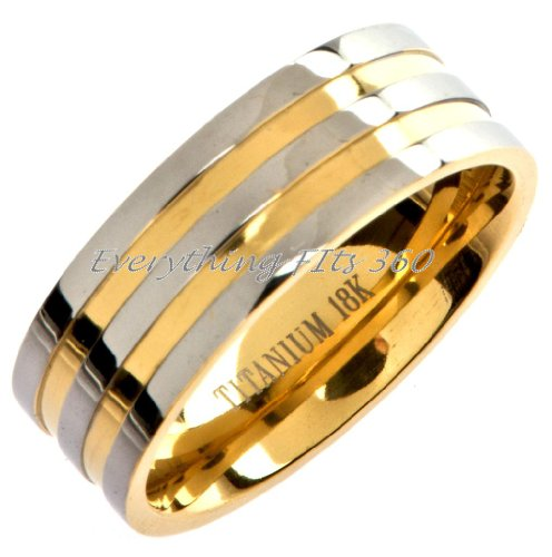 Titanium 18k Gold Plated Wedding Ring Band Comfort Fit 8mm Wide Size 7