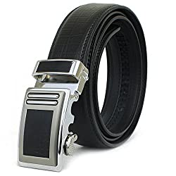 Stylish Mens Leather Belt Crocodile Pattern High Quality (Large, Black)