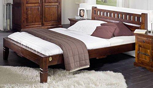 Kolonialstil Bett 140x200 Akazie massiv Holz OXFORD #228
