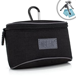 USA Gear S3 Compact Camera Pouch Carrying Case with Impact-Resistant Protective Nylon - Works with Samsung WB350F , WB50F , WB35F , WB250F , WB800F , MV800 , WB150F , EX2F and More!