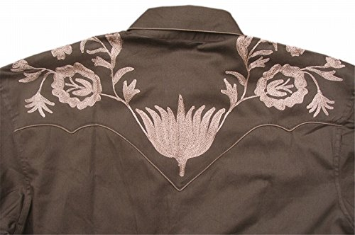 Rockmount Mens Vintage Style Western Floral Embroidery Snap Shirt 1